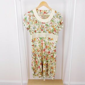 Vintage Open Back Butter Yellow Floral Dress
